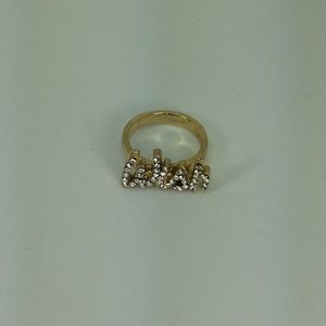 """Wish"" Pave Word Ring w/ Swarovski Crystal"